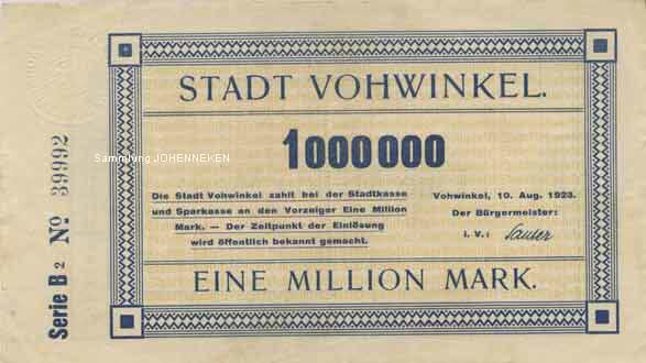 Notgeld Vohwinkel Eine Million Mark