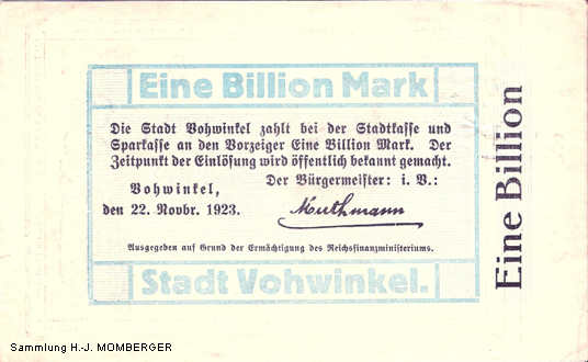 Notgeld Vohwinkel Eine Billion Mark (Sammlung H.-J. MOMBERGER)